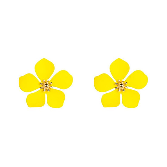 Yellow Flower Shaped Earring
