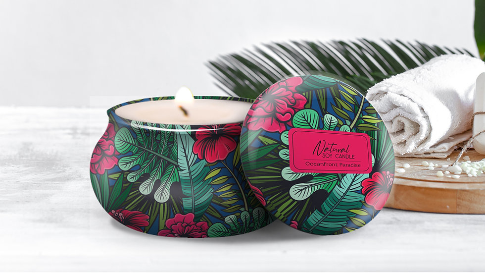 """100% Natural Soy Tropical Tin Candle """"OCEANFRONT PARADISE"""""""