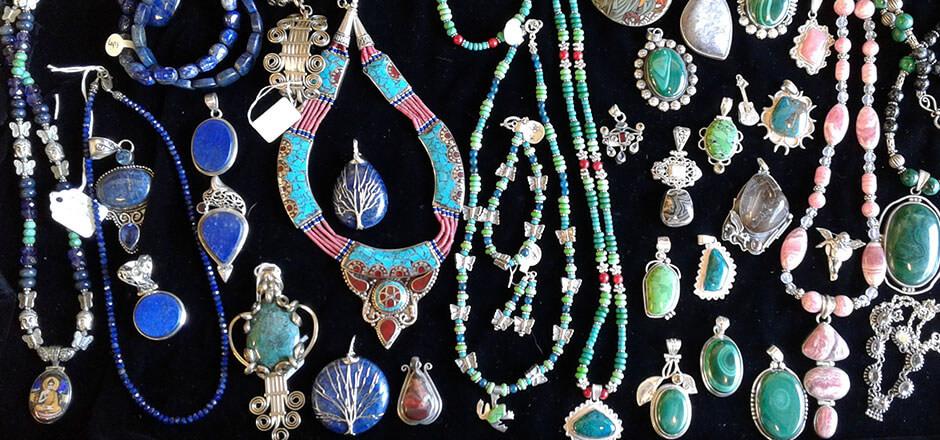 jewelry (lapis, rhodocrosite, green turquoise, malachite)