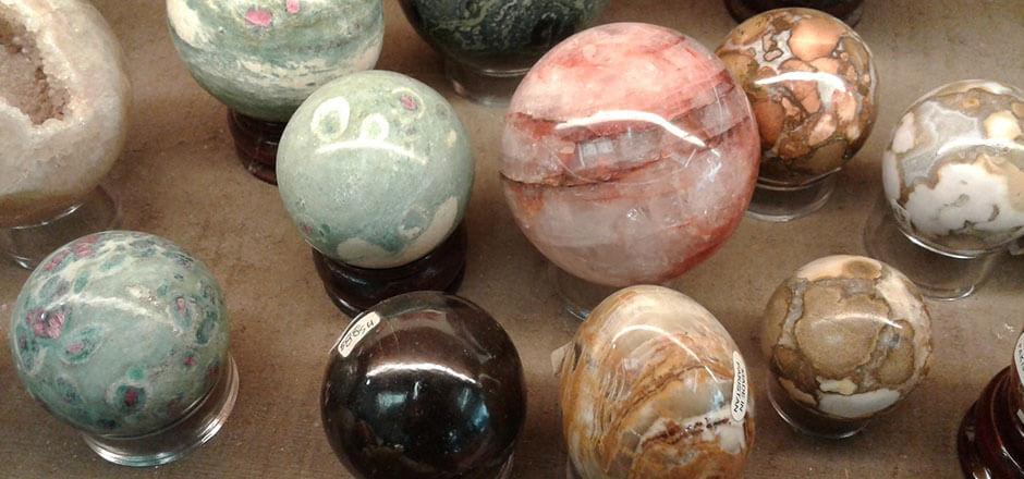 gemstone spheres (ruby fuchsite, onyx, garnet, amethyst)