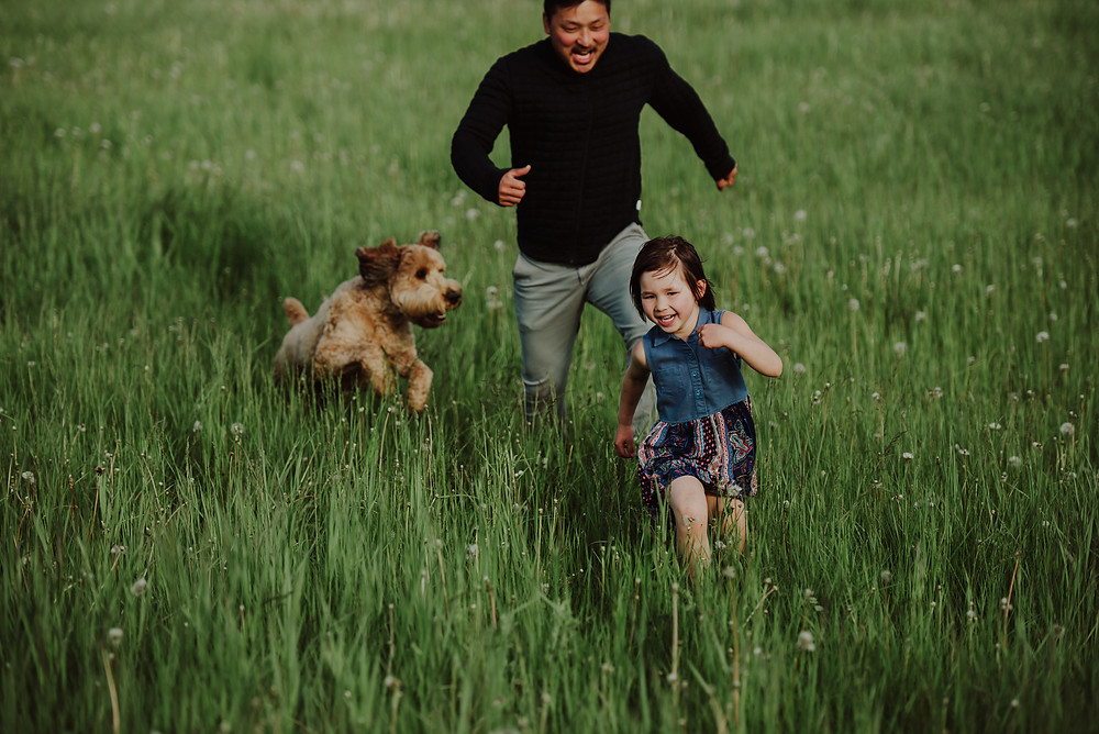 dad and dog chasing little girl in a field