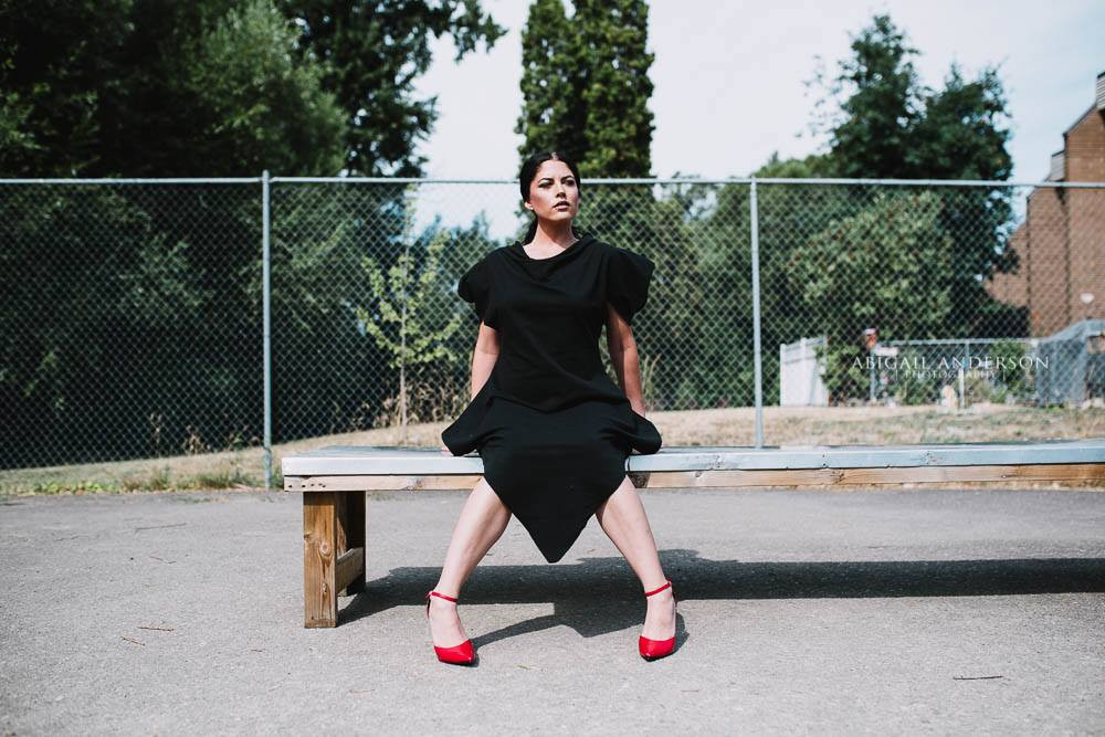 woman in black dress with red shoes Salmon Arm Branding Photographer