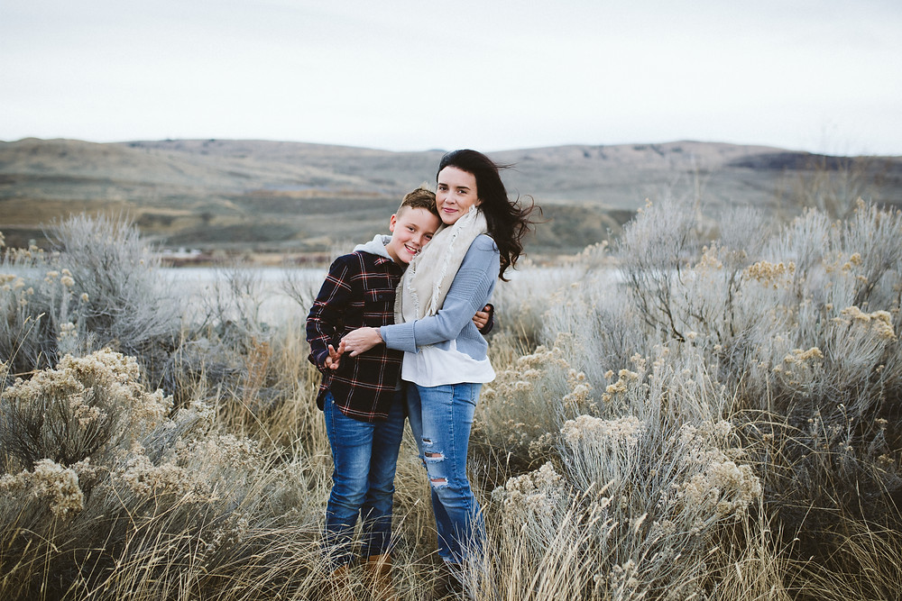 Salmon Arm Photographer Mini Sessions mother and son in sagebrush