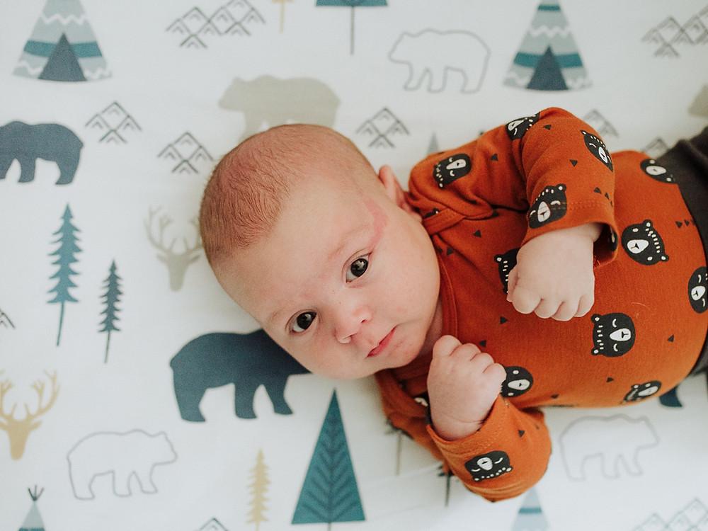Salmon Arm Photographer Abigail Art Newborn in orange bear shirt