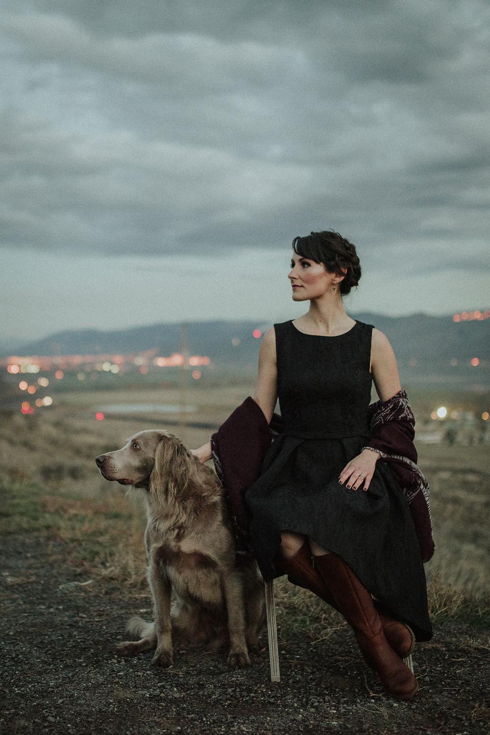 kamloops photographer woman with dog beyond city lights