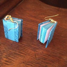 Miniature book earrings - Members work: Marilyn Book