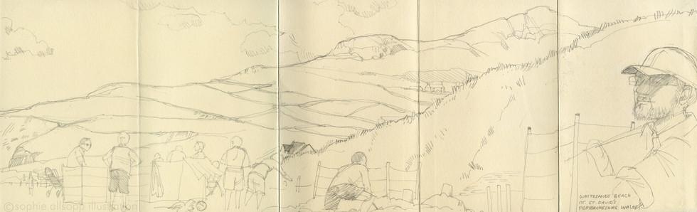 Part of a concertina sketchbook