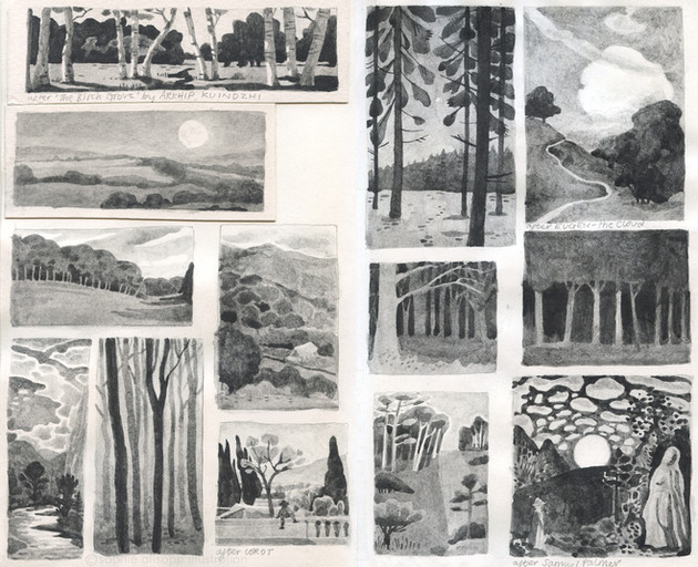 Tiny paintings in soluble graphite