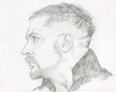A sketch of Tom Hardy in 'Taboo'