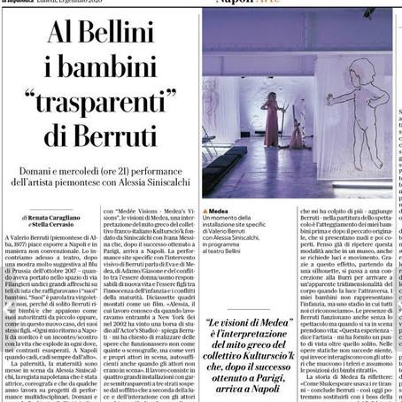 VALERIO BERRUTI AL TEATRO BELLINI DI NAPOLI, SU LA REPUBBLICA