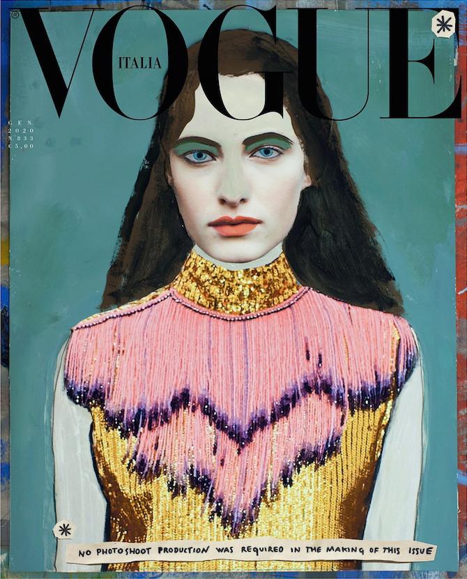 Paolo Ventura. MODEL: Felice Nova Noordhoff. Abito smanicato e top con frange GUCCI. Credits: Vogue Italia