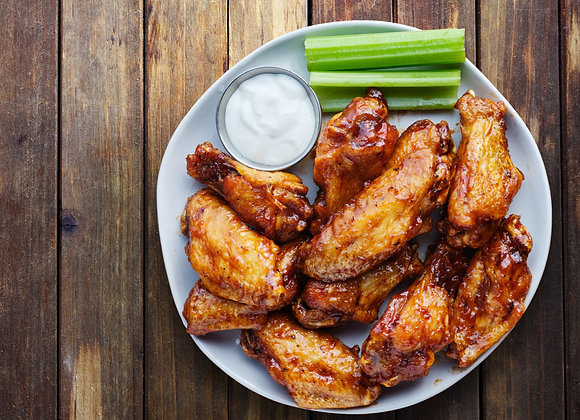 Wings with Sweet BBQ, Buffalo Honey, & Mustard BBQ (Dozen) - PRE ORDER