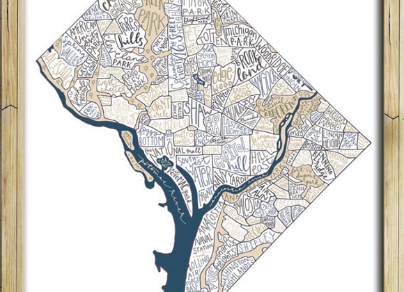 DC Map with White Background Print