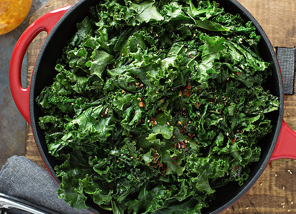 Southern Style Braised Kale w/ Vinegar, Chili & Vegetable Stock (pint)