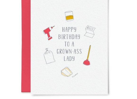 Grown Ass Lady Birthday Card