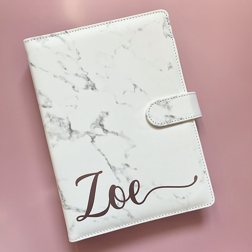Personalised Marble & Rose Gold Filofax