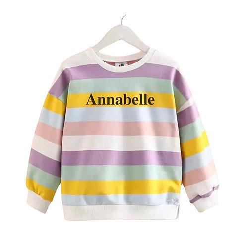 Personalised Pastel/Bright Striped Sweatshirt