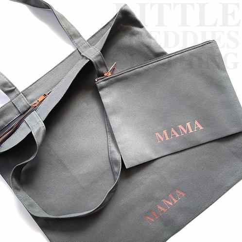 Grey & Rose Gold Hardware Tote & Make Up Bag