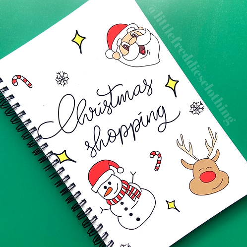 Hand Drawn Christmas Shopping Notebook