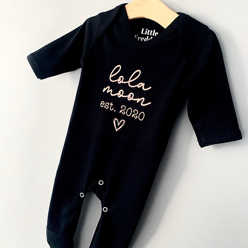 Personalised Name & Year Baby Grow