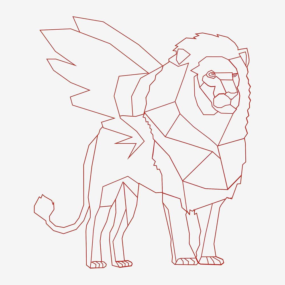 Logo Lion Generali Low Poly 2D