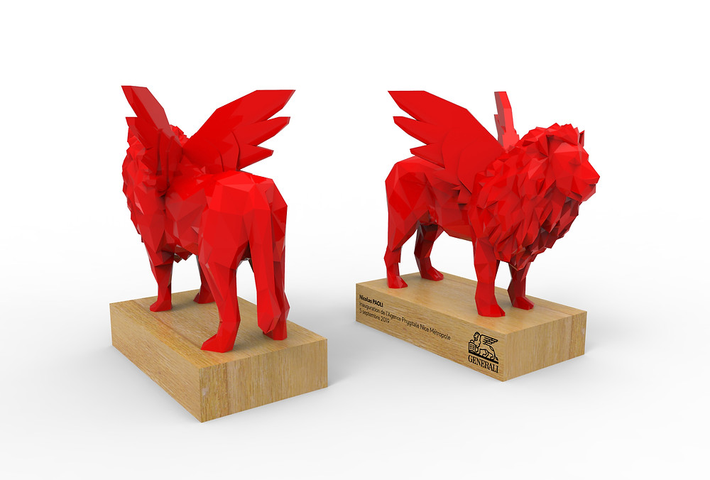 Generali inauguration agence phygitale nice septembre 2019 modélisation 3D trophée