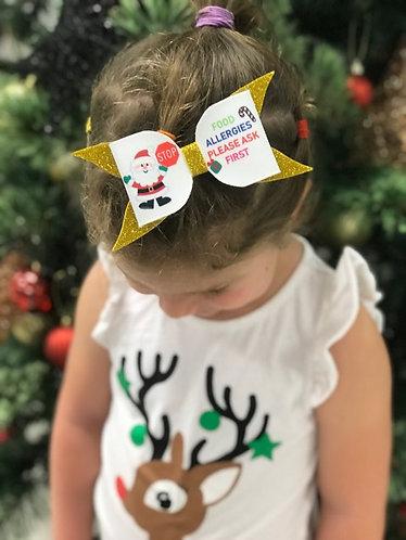 Santa Food Allergy Bow