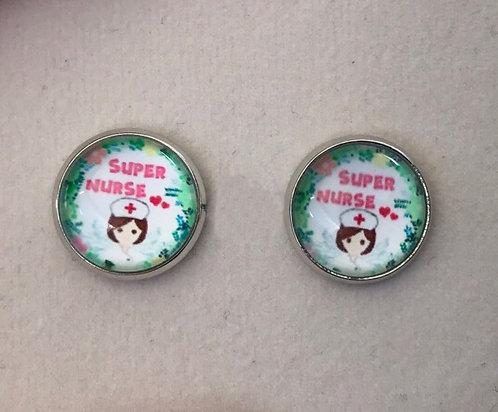 Super Nurse Stud Earrings Green