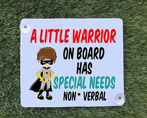 Special Needs Warrior Car Sign
