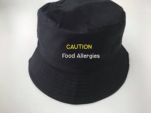 Caution food allergies bucket hat