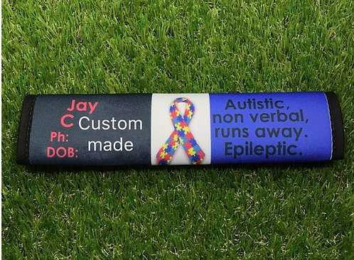 Autistic Epileptic Phone and DOB Seat Belt Cover