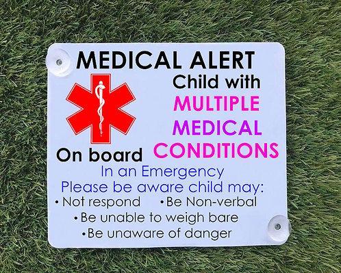 Multiple Medical Alert Car Sign