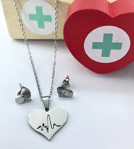 Heartbeat Necklace & Earrings