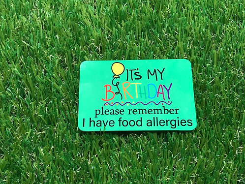 Food Allergy Birthday badge