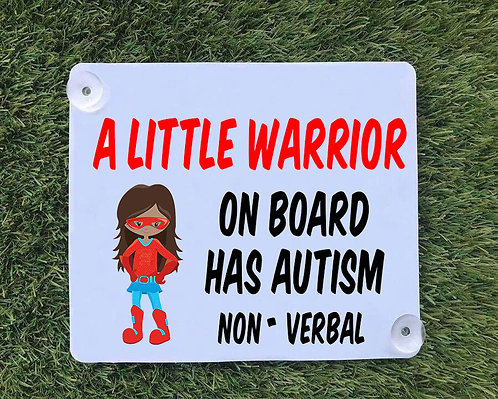 Austism Warrior Supergirl Car Sign