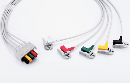 Mindray 5-Lead ECG wires, Clip, Adu, TPU, IEC