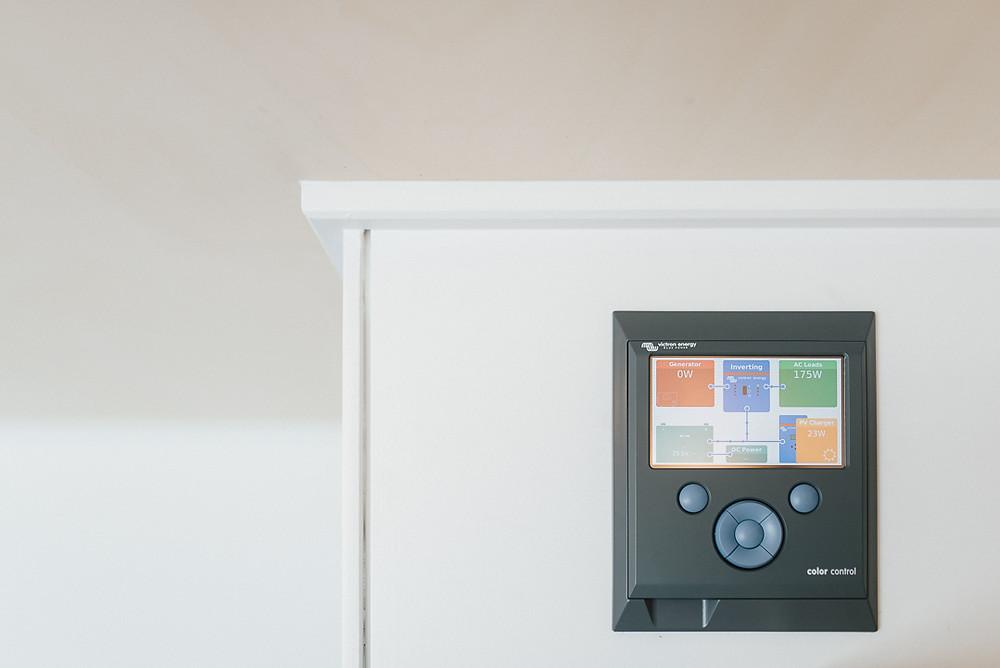 Internal solar control panel on Ibbotson Tiny house