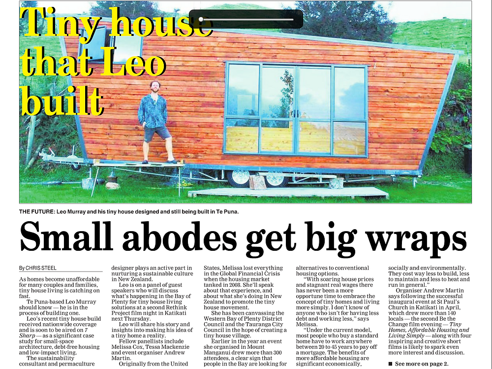 15 June 2017 Katikati Advertiser article about the workshop Leo and Tara ran to build their dream tiny homes