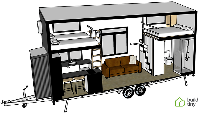TinyVille Tiny House 3D perspective layo