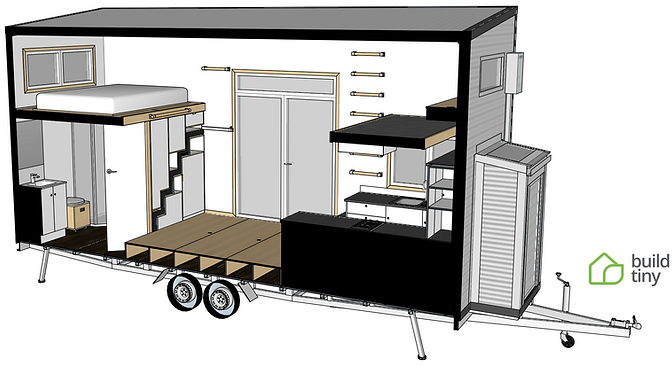 Millennial tiny house 3D perspective dra