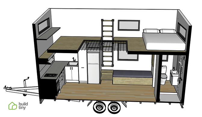 Evans tiny house 3D perspective drawing