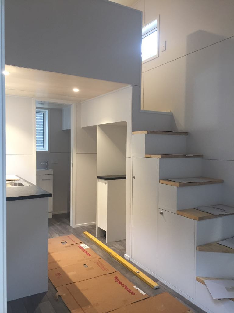 The Archers kitchen, bathroom and stairs to the loft