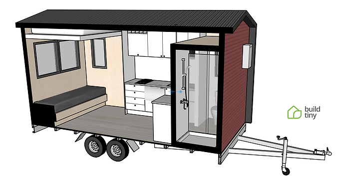 Camper Tiny House 3D Perspective