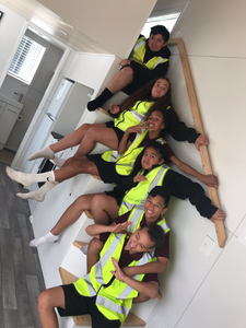 Waihi Collage students in the Archer Tiny house