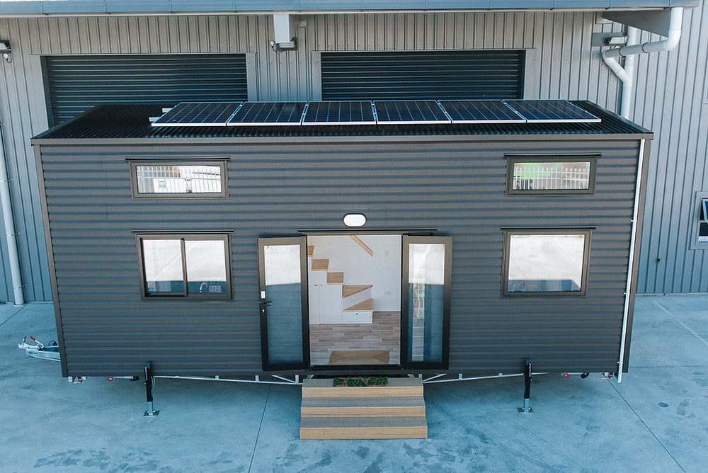 Arial view of the Ibbotson Tiny House, with solar panels.