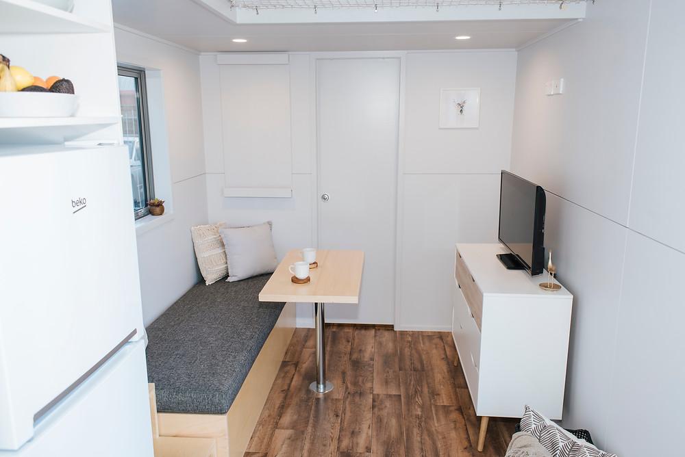 Larissa & Tyler's tiny house living room built by Build Tiny