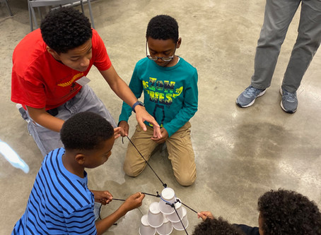 PRI students learn about Paul Robeson and participate in the CUP PYRAMID team-building exercise