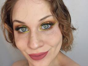 Neon Yellow & Glittery Coral Smokey Eye Makeup Tutorial