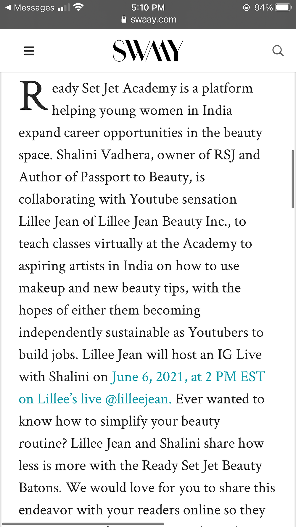 Lillee Jean and Shalini Teaching Aspiring Females in India to JumpStart Health and Beauty Careers with 'Ready Set Jet Academy'