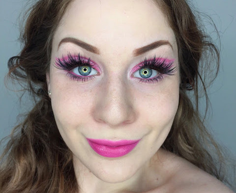 Abstract (Negative Space Cut Crease) Bubblegum Pink Girly Makeup Tutorial